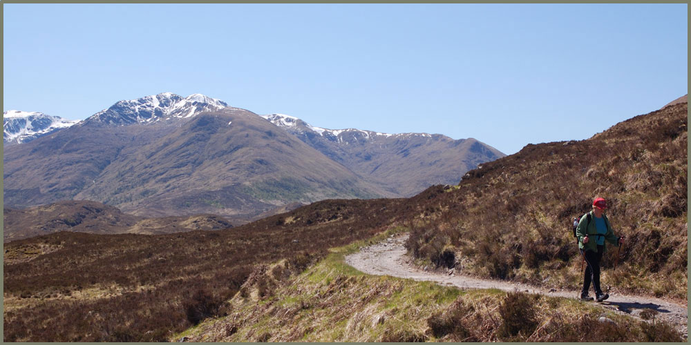 Mountains of Kintail from stalkers track in Glen Affric